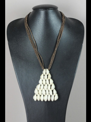 Necklace with cowry shells and glass beads