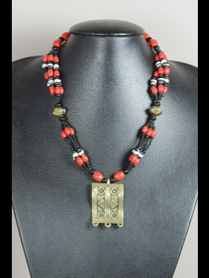 "Necklace with old ""Loubia"" glass beads and brass pendant"