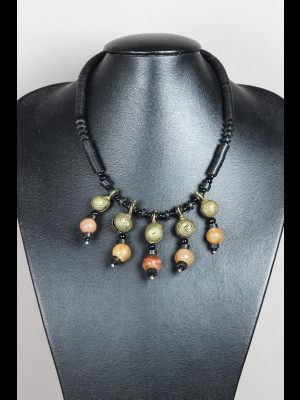 Necklace with carnelian, koffi and brass beads
