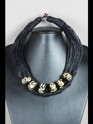 Necklace with leather threads and bone beads
