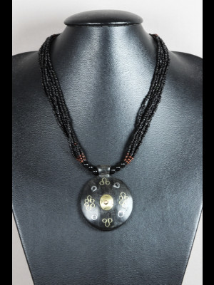 Necklace with wood medallion