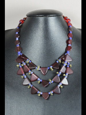 Exceptional necklace with old brass beads, antique glass beads from Bohemia and chevron beads