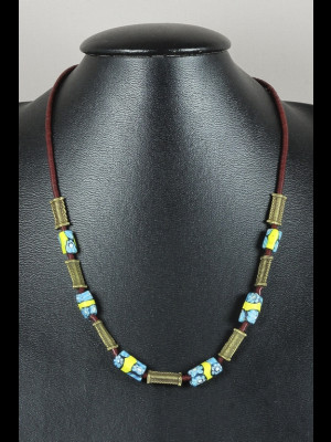 Neckace with brass beads, bakelite heishi disk beads and 6 antique millefiori trade beads