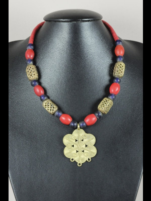 "Necklace with brass, glass, balelite heishi disk beads, brass pendant and 6 old ""Loubia"" beads"